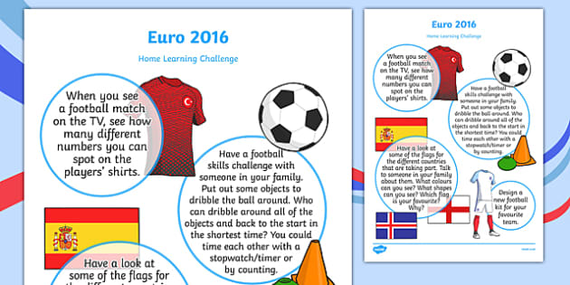 Euro 2016 Home Learning Challenge Sheet Nursery FS1
