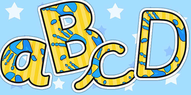A4 Blue and Yellow Handprint Themed A4 Display Lettering - letter