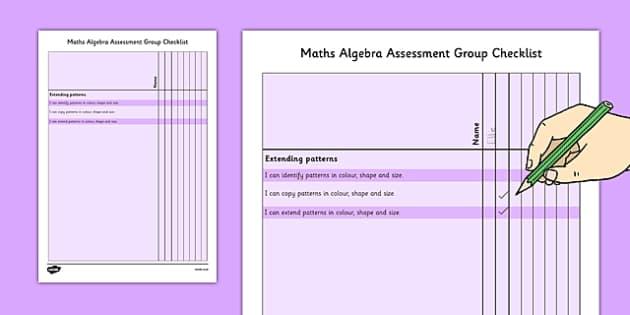 1999 Curriculum Junior Infants Maths Algebra Assessment Group Checklist - roi, irish, gaeilge, assessment, checklist, maths, junior infants, algebra