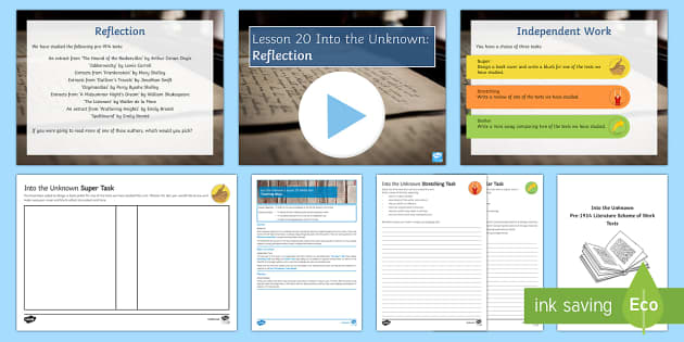 Into The Unknown Lesson Pack 20: Reflection Lesson Pack - Into The Unknown, pre-1914 texts, reflection, reflective thinking, learning journey.
