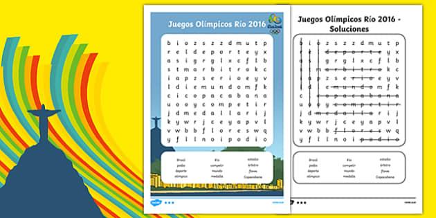 Juegos Olímpicos Río 2016 Rio Olympics 2016 Word Search Spanish - spanish, rio olympics, 2016 olympics, rio 2016, wordsearch, word search