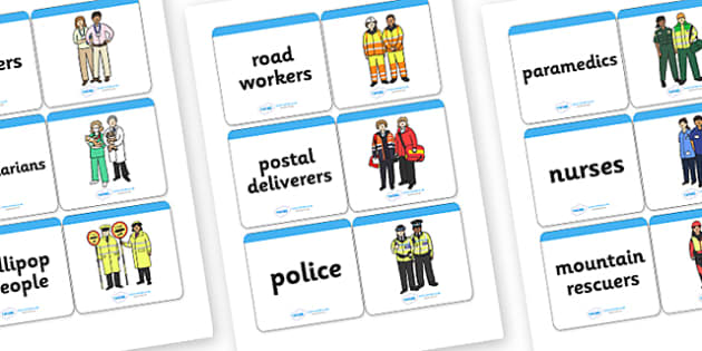 People Who Help Us Matching Cards - people who help us, people who help us cards, people who help us picture and word matching cards, matching cards