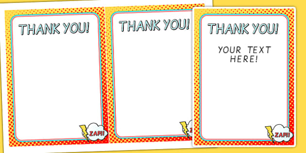 Superhero Themed Birthday Party Thank You Cards - birthday, props