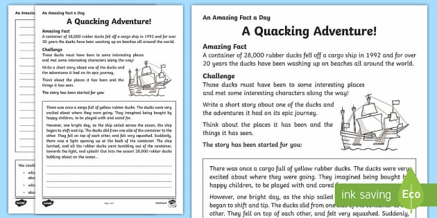 A Quacking Adventure Activity Sheet - Amazing Fact Of The Day, activity sheets, powerpoint, starter, morning activity, December, rubber du