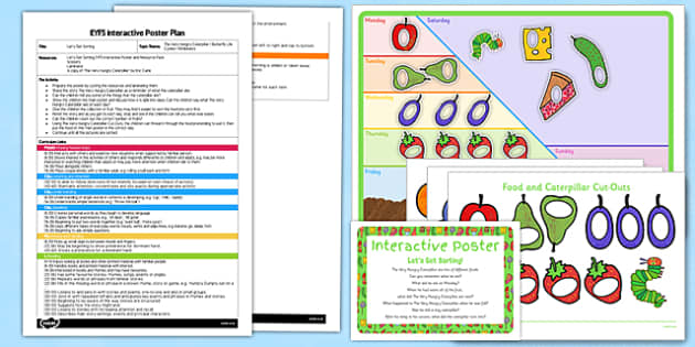 Let's Get Sorting Activity EYFS Interactive Poster Plan and Resource Pack to Support Teaching on The Very Hungry Caterpillar - EYFS, butterfly, fruit, food