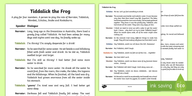 Tiddalick the Frog Play Script - Australian Aboriginal Dreamtime Stories, tiddalick the frog play script, play script, drama, acting,