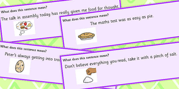 Food Idioms Sentence Cards Set 3 - food, idioms, sentences, set, sen