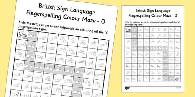 British Sign Language Fingerspelling Colour Maze O - colour, maze