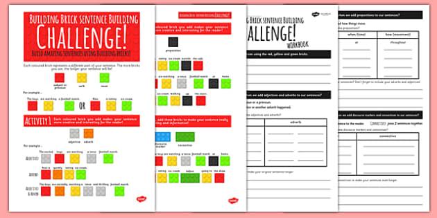 Building Brick Sentence Building Activity - sentence building