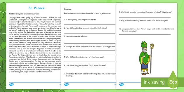 Saint Patrick Comprehension Activity Third and Fourth Class - Saint Patrick, comprehension, reading, questions, religion, Ireland