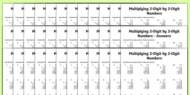 Multiplication 2-Digit x 2-Digit Missing Numbers Differentiated