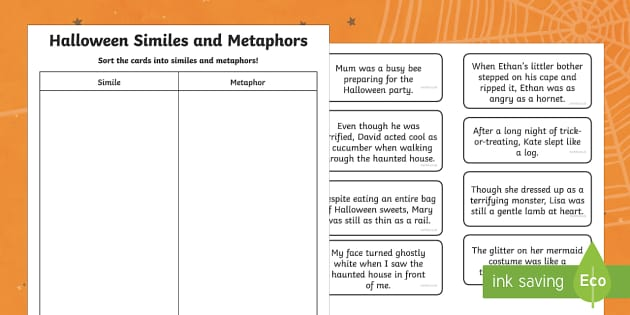 Halloween Simile and Metaphor Matching Cards - halloween, simile, metaphor, matching, match, cards