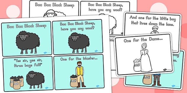 Ba Ba Black Sheep Story Sequencing A4 - nursery rhyme, sequencing