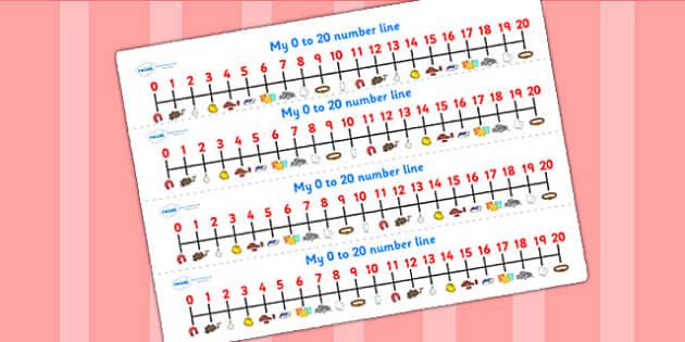 Materials Number Line 0 20 - materials, number line, number, 0-20
