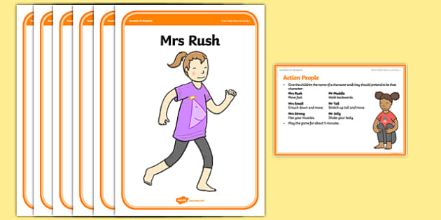 Foundation PE (Reception) Action People Warm-Up Activity Card - physical activity, foundation stage, physical development, games, dance, gymnastics