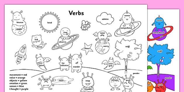 Verbs Colouring Sheet - verbs, colouring sheet, colouring, colour, words