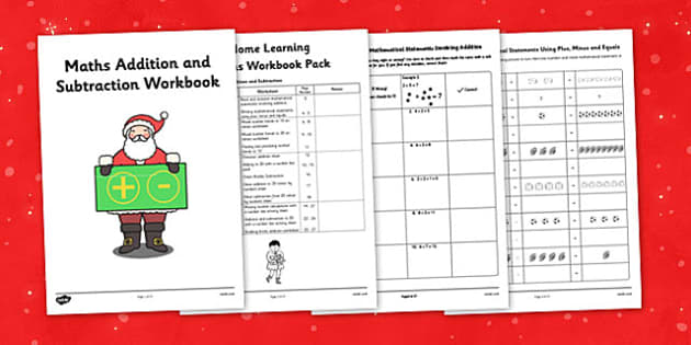 Christmas Themed Year 1 Maths Addition and Subtraction Workbook - christmas, maths, addition, subtraction, workbook