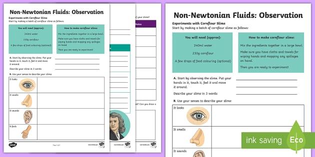 Non-Newtonian Liquids Observation Activity Sheet - Home Education Science Information Powerpoints, non-newtonian, slime, squidge, worksheet, activity s