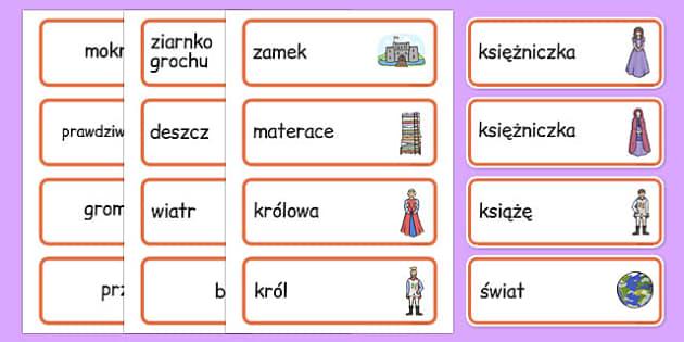 Karty ze słownictwem Księżniczka na ziarnku grochu po polsku