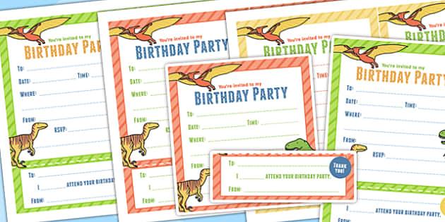 Dinosaur Themed Birthday Party Invitations - dinosaur, parties