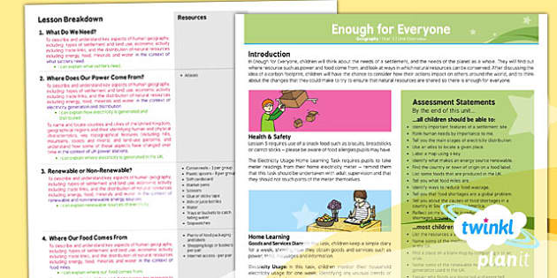 PlanIt Geography Year 5 Enough for Everyone Planning Overview - planit, geography, year 5, enough for everyone, planning, overview, plan