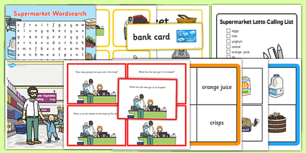 Supermarket Vocabulary and Comprehension Pack - supermarket