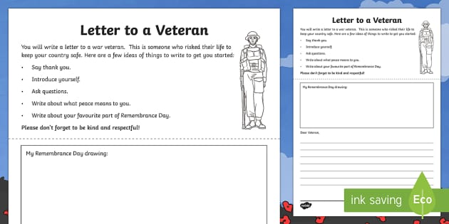Letter to a Veteran Activity Sheet
