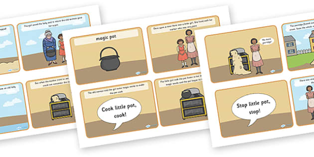 The Magic Porridge Pot Story Sequencing (4 per A4) - magic, porridge, pot, little girl, lady, magic pot, cook, magic words, sequencing, story sequencing, story resources, 4 per A4, cards