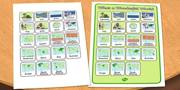 What a Wonderful World Word Grid - wonderful world, word grid