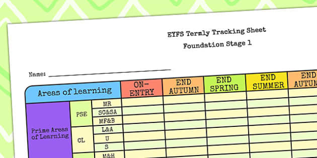 EYFS Individual Termly Tracking Sheet FS1 - EYFS, track sheet