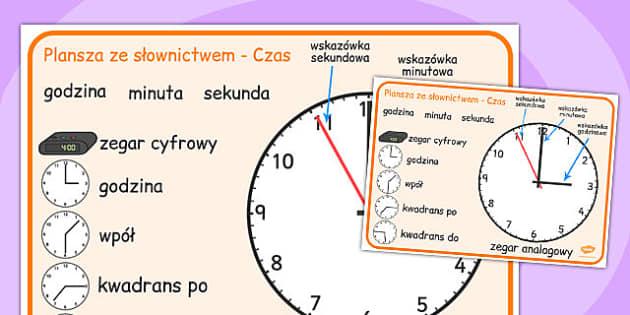 Plansza ze slownictwem Czas po polsku - matematyka, dzieci , Polish