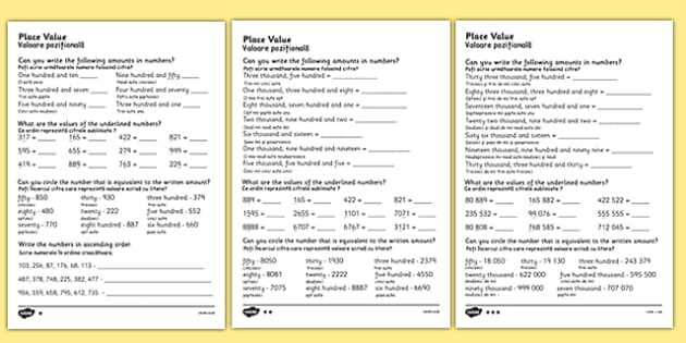 Place Value Worksheet Differentiated Romanian Translation - romanian, place value worksheets, place value, converting numbers, converting words to numbers, ks2 numeracy worksheets