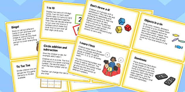 KS1 Addition and Subtraction Starter Idea Cards - ks1, starter ideas