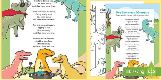 Five Enormous Dinosaurs Counting Song Sheet - counting, song