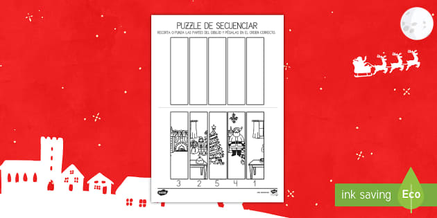 Puzzle de secuenciar: La Navidad - contar, recta numérica, números, navidad, navideño, navideña,Spanish, recortar, tijeras, punzón - contar, recta numérica, números, navidad, navideño, navideña,Spanish, recortar, tijeras, punzón
