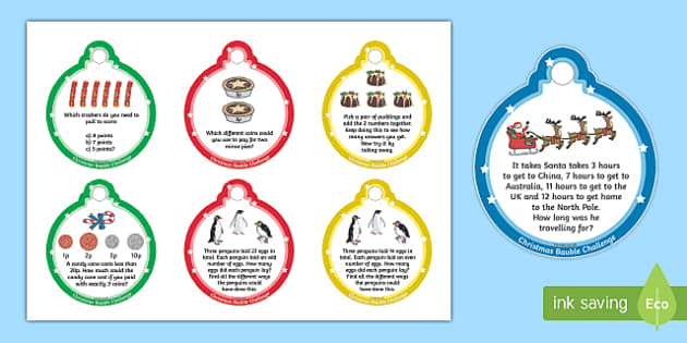 KS1 Christmas Maths Challenge Baubles - Festivities, Numeracy