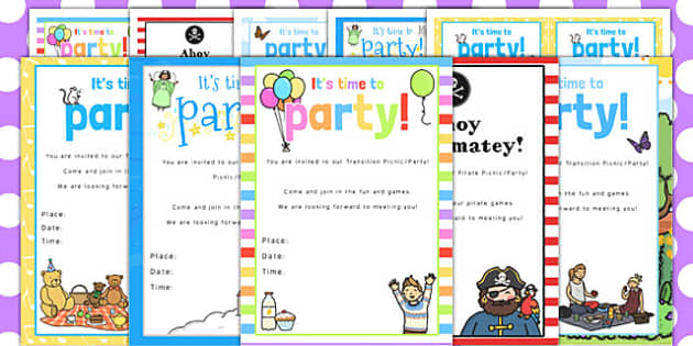Transition Picnic and Party Invitation Pack - picnic, party, pack