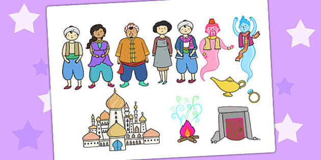 Aladdin Story Cut Outs - aladdin, story, cut outs, visual aids