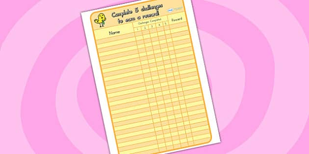 Challenge Record Sheet - challenge, records, record sheet, sheet