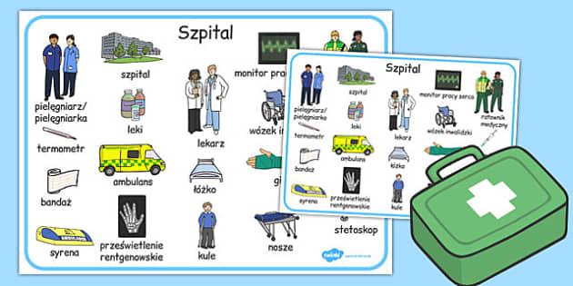 Plansza ze slownictwem Szpital po polsku - szkola , Polish