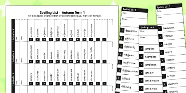 Home Educators Spelling Lists Year 3 Autumn 1 - home, educators, spelling, lists