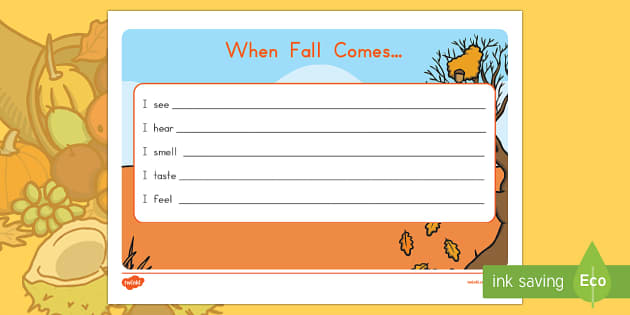 Five Sense Fall Writing Activity Sheet
