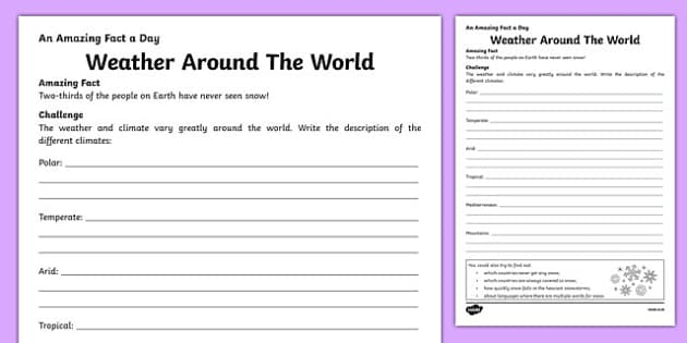 Weather Around The World Activity Sheet, worksheet