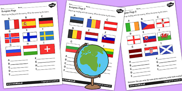 European Flag Worksheets - europe, geography, flags, countries