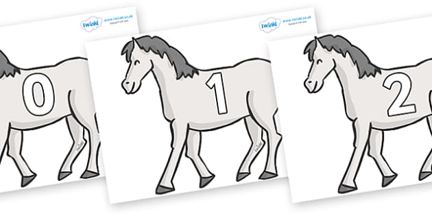Numbers 0-50 on Horses - 0-50, foundation stage numeracy, Number recognition, Number flashcards, counting, number frieze, Display numbers, number posters
