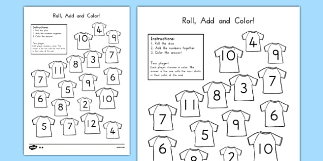 Football Roll and Color Activity Sheet - usa, america, football, colour, games, euro 2016, worksheet