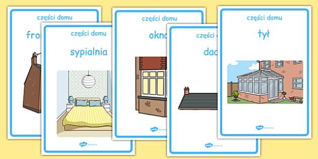 Plakaty na gazetkę Części domu po polsku - pomieszczenia, meble