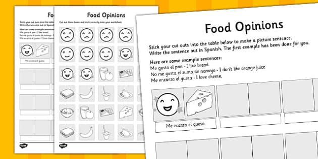 Actividad La comida y los gustos en inglés - ficha, comida, vocabulario, inglés
