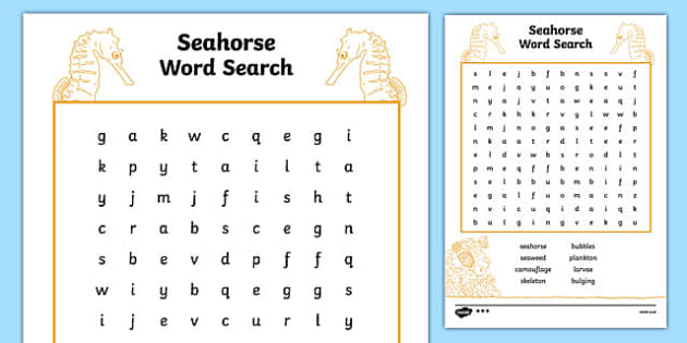 Australian Animals Years 3-6 Seahorse Differentiated Word Search - australia, animals, years 3-6, seahorse, differentiated, word search