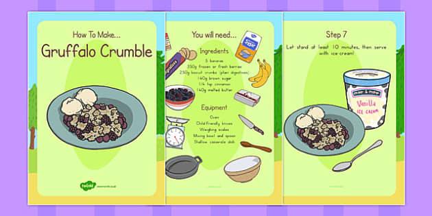 Gruffalo Crumble Recipe Cards - australia, gruffalo, recipe, cards